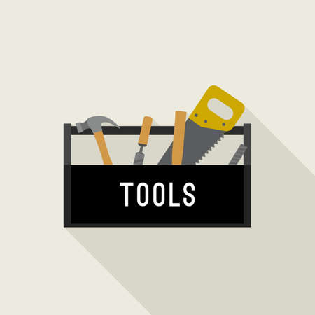 Tools box in flat style. Black box with hand tools. Illustration