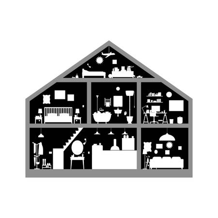 House inside. Black and white illustration of house with set of basic rooms. House in cut with silhouette of furniture. Illustration