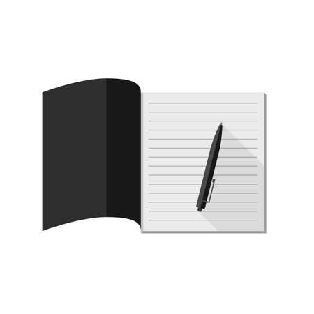 Notebook with pencil. Flat illustration