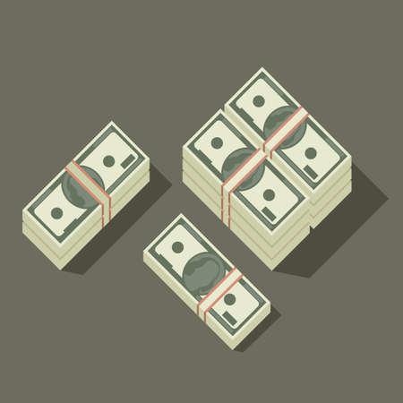 Dollars pile flat icon. Illustration of stack of dollars. Illustration