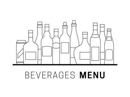 Alcohol drinks collection. Beverages menu with bottles of alcoholic drinks. Illustration