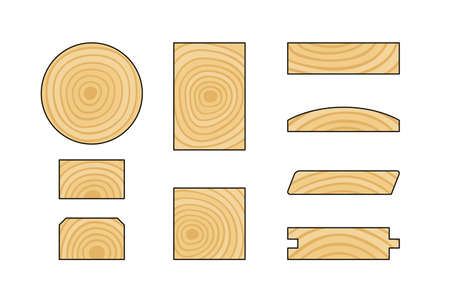 Wooden products. Set of lumber cross-sections.