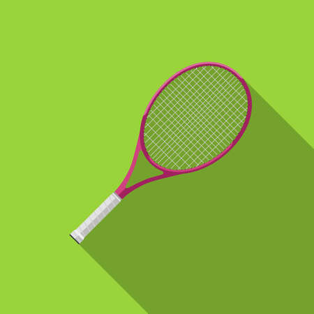Tennis racquet with long shadow. Flat icons of tennis equipment. Illustration