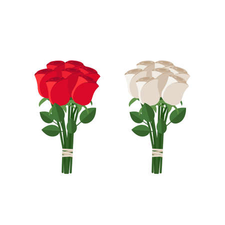 Bouquets of white and red roses in flat style.
