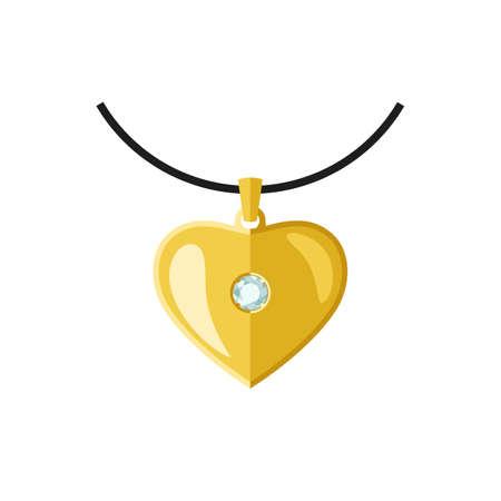 Golden Heart shape Pendant on necklace.