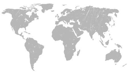 World map background. Grunge illustration of gray silhouettes world map.