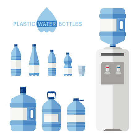 Plastic water bottles with cooler flat icons. Simple illustration with plastic cooler for water and different bottles.