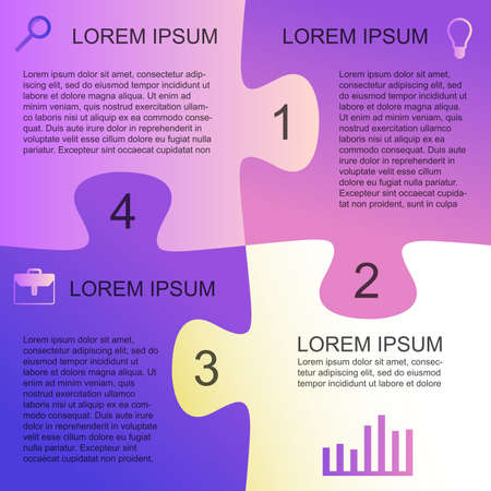 Template background for business presentation. Square puzzle infographic with four option.