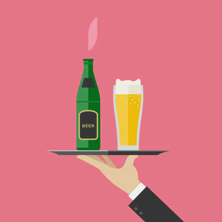 Waiter brings a bottle and a glass of beer. Flat illustration of tray with beer and glass Illustration