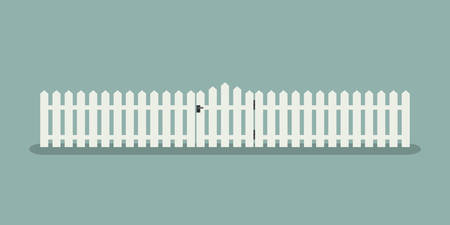 White wooden fence with garden gate in flat style.