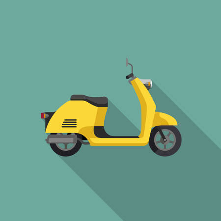Yellow Scooter in flat style. Illustrations of retro little motorcycle with long shadow.