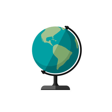 Globe of Planet Earth. Flat illustration of education table globe