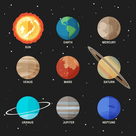 Planets set of the solar system. Simple flat icons of the main known planets.