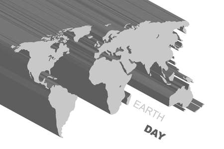 Illustration of extruded gray map. World map background