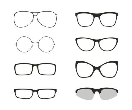 Set of differents glasses, isolated on white background. Black silhouettes of modern glasses Vector Illustration