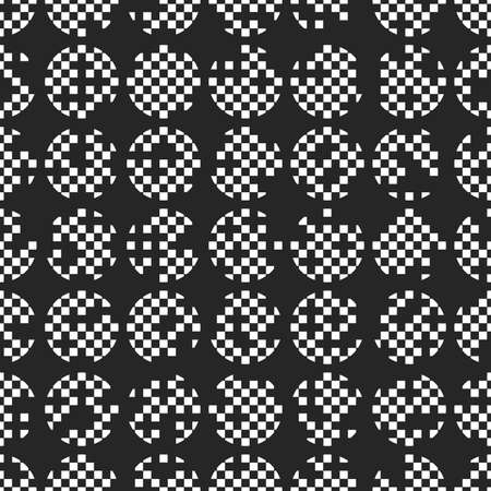 Circle seamless pattern with pixel structure. Monochrome pattern with black background