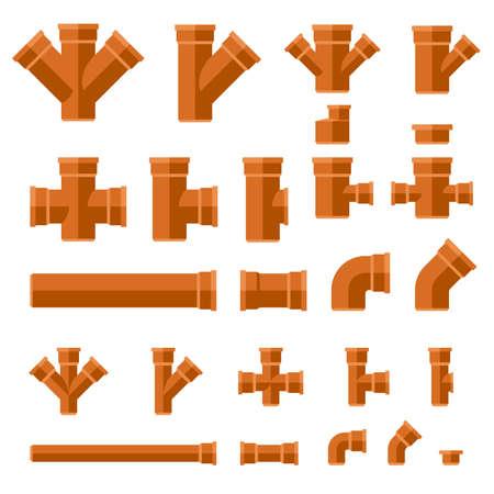 Flache Ikonen der braunen Abwasserrohre. Stellen Sie Teile und Rohre des technischen Abwassersystems ein. Vektorgrafik