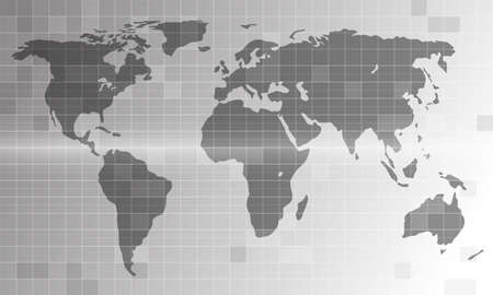 World map on monochrome background. Digital map in blueprint style with linear grid. 向量圖像