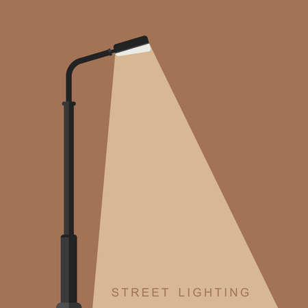 Outdoor lighting flat banner. Background with a luminous street lamppost.