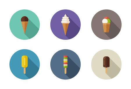 Ice cream flat icons Illustration