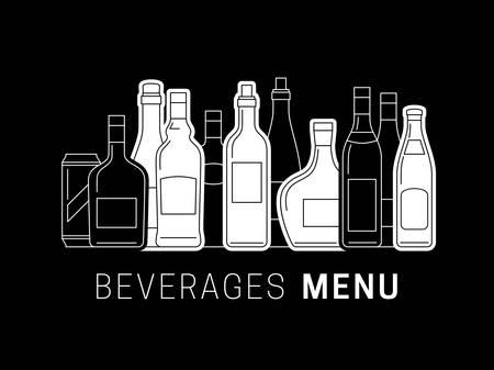 Illustration of Alcoholic drinks. Alcohol menu template with bottles of alcoholic drinks. Illustration