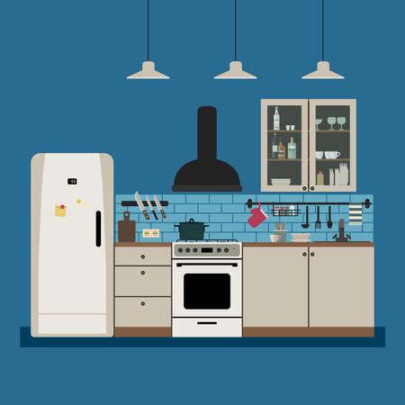 Kitchen interior with furniture Illustration