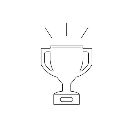 Prize cup line illustration. Championship cup on white.