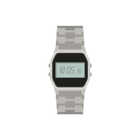Electronic watch icon in flat style. Hand watch on white background.