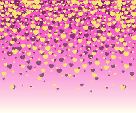 Hearts confetti with yellow hearts