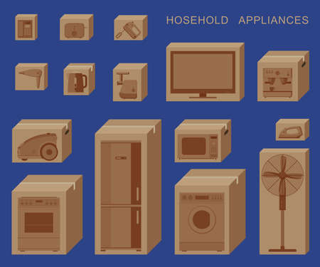 Household appliances in boxes Illustration