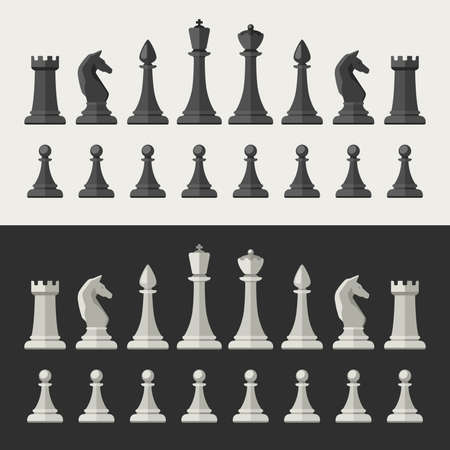 Chess pieces in flat style. Black and white chess icons. Illustration