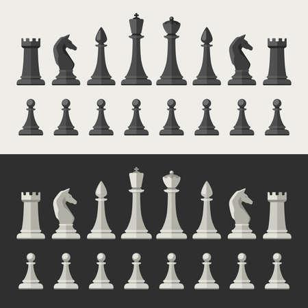Schachfiguren im flachen Stil. Schwarze und weiße Schachsymbole. Vektorgrafik