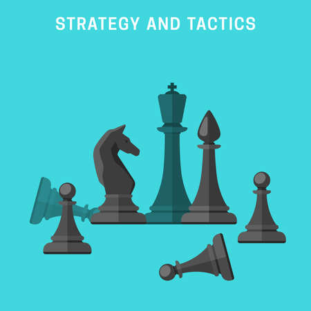 Chess tournament. Concept of business strategy and tactics. Black chess pieces in flat style. Çizim