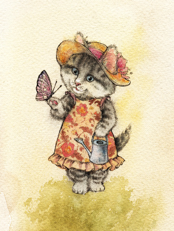 a gray striped fluffy cat with blue eyes and a hat with a flower holds a colored butterfly and a watering-can in its paws, is dressed in a dress with a floral pattern. Watercolor, ink, painted with ha