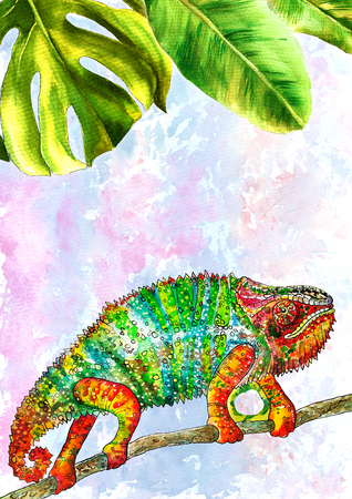 Template design with watercolor painted tropical leaves. Vertical format. Illustration, full-color chameleon, color lizard, watercolor chameleon Stok Fotoğraf