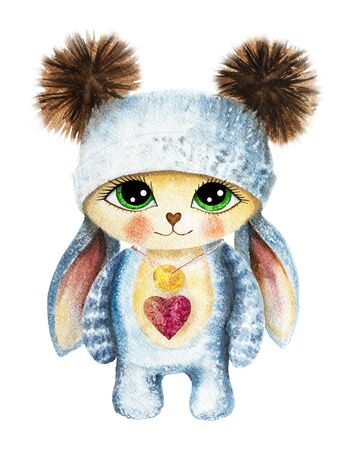 A cartoon rabbit in a knitted hat with big eyes stands. Drawn by hands in watercolor, isolate. For printing on t-shirts, posters. Template for creating packaging design, calendar. Easter bunny in clot