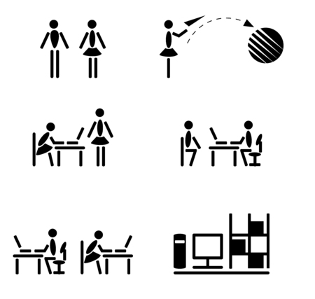 communication icons: black and white icons communication people in the office