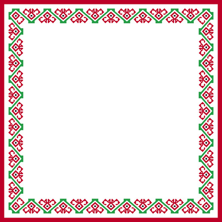 patterned: square patterned red-and-green frame with folk ornament Illustration