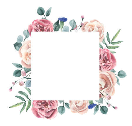 Watercolor hand drawn roses and eucalyptus frame. Perfect for invitation and social media.