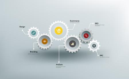 engranes: Infografía. Los engranajes se comunican entre sí. Vectores