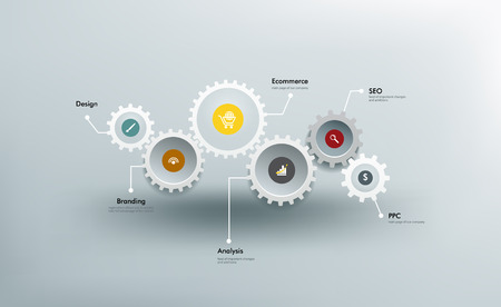 cog: Infographics. The gears communicate with one another.