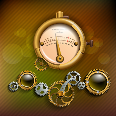 barometer: Gears and barometer in style steam punk Illustration