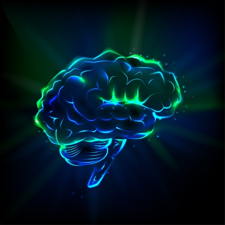 health symbols metaphors: Shining brain Illustration