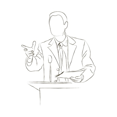 Vector isolated illustration sketch speaker, politician, businessman, manager, leader stands in front of a microphone near the podium, doodle over white background