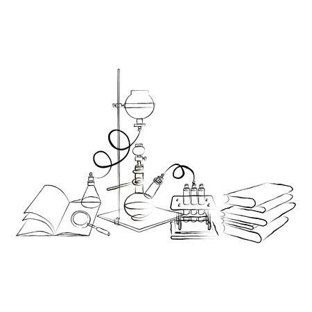 Doodle Chemical Laboratory Stock Illustratie