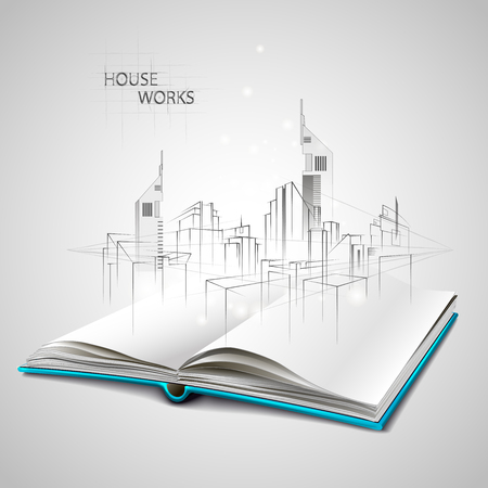 renovate: Opened book and drawing building sketches Illustration