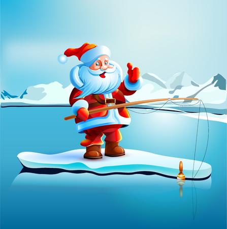 Santa Claus shows thumbs up  Illustration