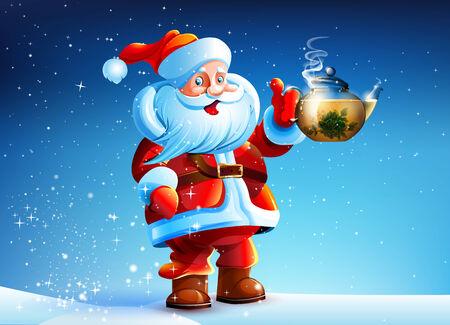 drink tea: Santa Claus offers drink tea
