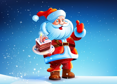 santa claus greeting: Cake in the hands of Santa Claus Illustration