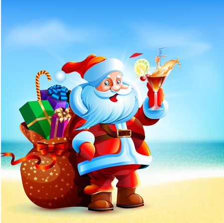 Santa Claus holding a glass of cocktail